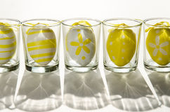 Easter eggs in glass decoration Royalty Free Stock Photo