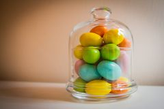 Easter eggs in a glass jar Stock Photography