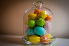 Easter eggs in a glass jar Stock Images