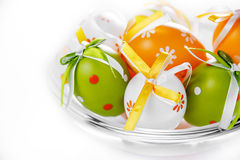 Easter eggs in a glass pot Stock Photos