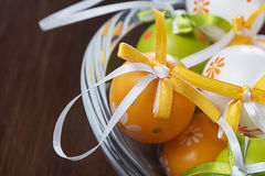 Easter eggs in a glass pot Stock Images
