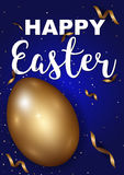 Easter eggs gold with confetti gold and dark blue colors. Free space place for text. illustration Royalty Free Stock Image