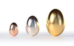 Easter Eggs Gold Silver Bronze Stock Photos