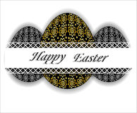 Easter eggs with gold and silver floral pattern. Stock Images