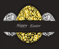 Easter eggs with gold and silver floral pattern. Royalty Free Stock Photography