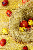 Easter eggs on gold Royalty Free Stock Photography