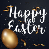 Easter eggs gold and text with confetti gold and dark colors fre. E space place for text. illustration Stock Image