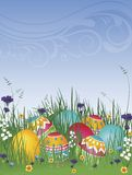Easter Eggs on Grass 02. Vector illustration background of easter eggs on grass with flowers and blue sky Royalty Free Stock Photos