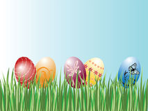 Easter Eggs in grass. This is an illustration of colorful Easter Eggs in green grass Stock Images