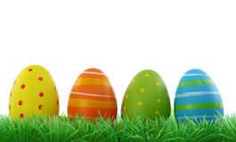 Easter eggs with grass Stock Photos