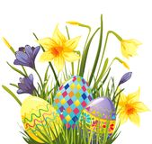 Easter eggs in grass royalty free illustration