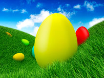 Easter - eggs on grass Stock Photo