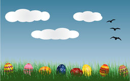 Easter eggs on grass. Easter eggs lying on grass Royalty Free Stock Image