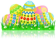 Easter eggs in a grass Stock Photos