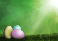 Easter eggs in the grass. Easter eggs laying on grass with glowing lights Stock Photography