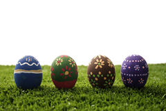 Easter eggs on grass royalty free stock photos