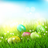 Easter eggs in grass. Sweet Easter eggs in the grass - Easter illustration Stock Photography