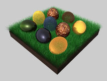 Easter eggs - grass - 3D Stock Photography