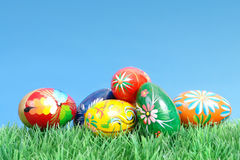 Easter eggs in grass Stock Images