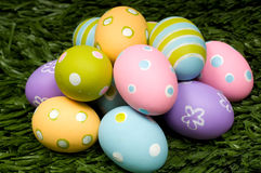 Easter Eggs on Grass Stock Images