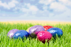 Easter eggs on grass. Chocolat Easter eggs on grass stock photos