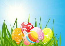 Easter eggs on the grass Stock Photography