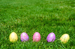 Easter eggs on the grass background Stock Photo