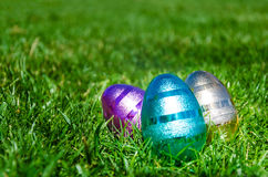 Easter eggs on the grass background Royalty Free Stock Photography