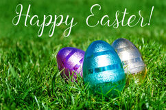 Easter eggs on the grass background Royalty Free Stock Photos
