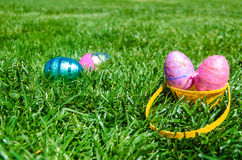Easter eggs on the grass background Royalty Free Stock Images