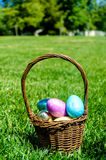Easter eggs on the grass background Royalty Free Stock Photo