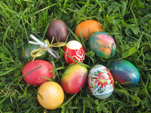 Easter eggs on grass background Royalty Free Stock Photo