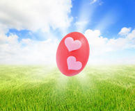 Easter eggs on grass with blue sky Royalty Free Stock Images