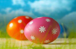 Easter eggs on the grass and blue sky background Stock Photography