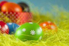 Easter eggs on the grass and blue sky background Stock Images