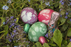 Easter eggs in the grass 7 royalty free stock photos