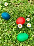 Easter egg red blue green homemade Royalty Free Stock Images