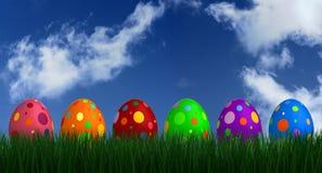 Easter Eggs on Grass Stock Photos