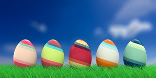 Easter eggs on grass. 3d illustration Royalty Free Stock Image
