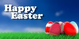 Easter eggs on grass. 3d illustration Royalty Free Stock Photos