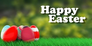 Easter eggs on grass. 3d illustration Stock Photo