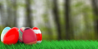 Easter eggs on grass. 3d illustration. Colorful easter eggs on grass on nature background. 3d illustration Royalty Free Stock Photography