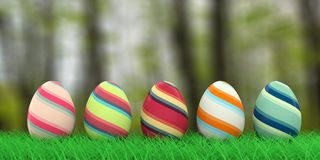 Easter eggs on grass. 3d illustration. Colorful easter eggs on grass on nature background. 3d illustration Stock Images