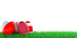 Easter eggs on grass. 3d illustration Stock Images