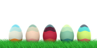Easter eggs on grass. 3d illustration. Colorful easter eggs on grass on white background. 3d illustration Stock Photography