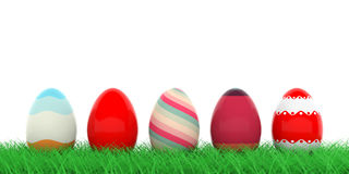Easter eggs on grass. 3d illustration. Colorful easter eggs on grass on white background. 3d illustration Royalty Free Stock Photo