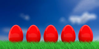 Easter eggs on grass. 3d illustration. Red easter eggs on grass on blue sky background. 3d illustration Stock Photos