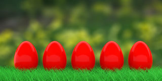 Easter eggs on grass. 3d illustration. Red easter eggs on grass on nature background. 3d illustration Royalty Free Stock Images