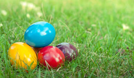 Easter eggs in the grass. Easter day and colorful easter eggs for christians Royalty Free Stock Photos