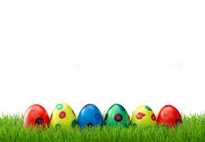 Easter eggs in grass. Easter eggs with different colors in grass Stock Images